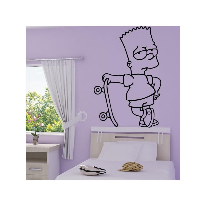 Sticker Simpson Bart en skateboard
