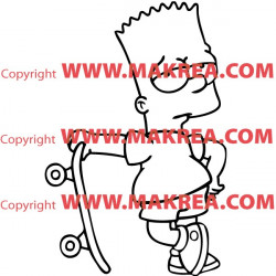 Sticker Simpson Bart en skateboard
