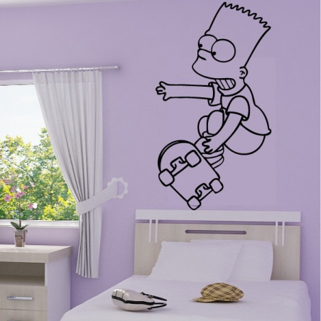 Simpson Bart saute en skateboard