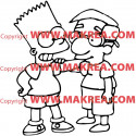 Sticker Simpson Bart et son copain