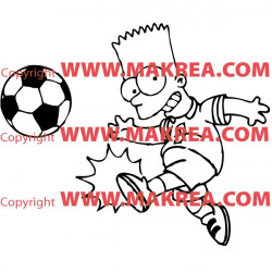 Sticker Bart Simpson joue au foot