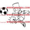 Sticker Bart Simpson joue au foot