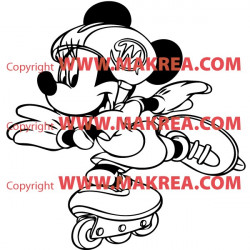 Sticker Mickey Mouse en roller