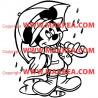 Sticker Mickey Mouse sous la pluie
