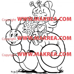 Sticker Escargot rigolo et petite fille