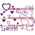 Sticker Ourson Fleur + Prénom Personnalisable