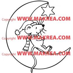 Sticker Souris sur la lune