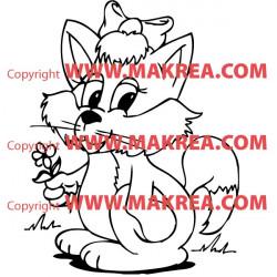 Sticker Chat avec une fleur