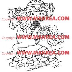 Sticker Charlotte aux Fraises à cheval