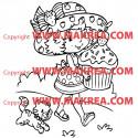 Sticker Charlotte aux Fraises et son gâteau