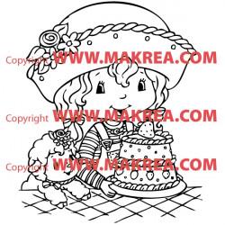 Sticker Charlotte aux Fraises et son gâteau 2