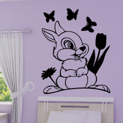 Sticker Bambi - Panpan Papillons et fleurs