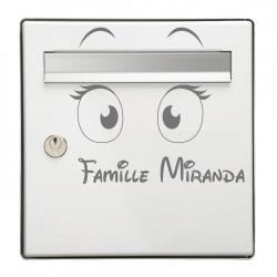 Sticker Boite aux lettres  gros yeux + Famille