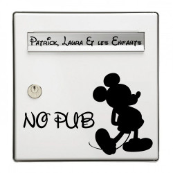 Sticker Boite aux lettres Mickey No pub + Famille