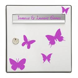 Sticker Boite aux lettres Papillons + Nom