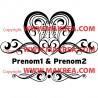 Sticker Coeur Ornement + prénoms personnalisables