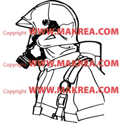 Sticker Pompier avec masque