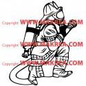 Sticker Pompier et lance à incendie 2