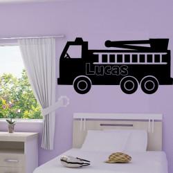 Sticker Camion Pompier Prénom Personnalisé