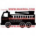 Sticker Camion Pompier + prénom personnalisable