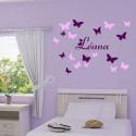 Sticker Papillons et Prénom 2 couleurs
