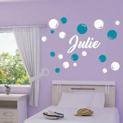 Sticker Bulles et Prénom 2 couleurs