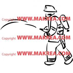 Sticker Pompier et lance à incendie 3