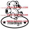 Sticker Ourson + Cercle Prénom Personnalisable