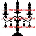 Sticker Chandelier 3 bougies Baroque