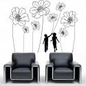 Sticker silhouette Enfants et fleurs