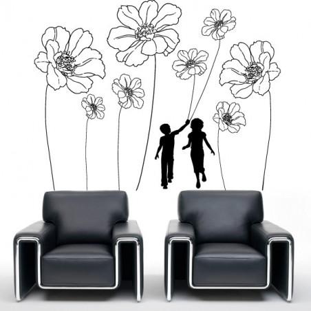 silhouette Enfants et fleurs