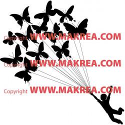 Sticker enfant qui s'envole avec des ballons papillons