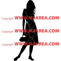 Sticker Silhouette Femme Robe Filaments - 3-Colors