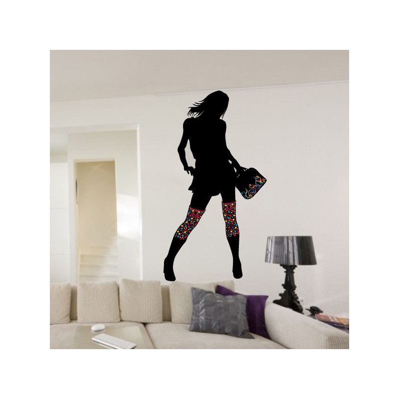 Sticker Silhouette Femme bottes et sac couleurs
