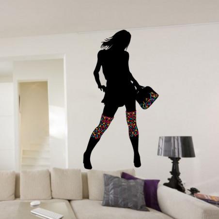 Silhouette Femme bottes et sac couleurs