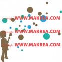 Sticker Silhouette Enfant qui souffle des bulles
