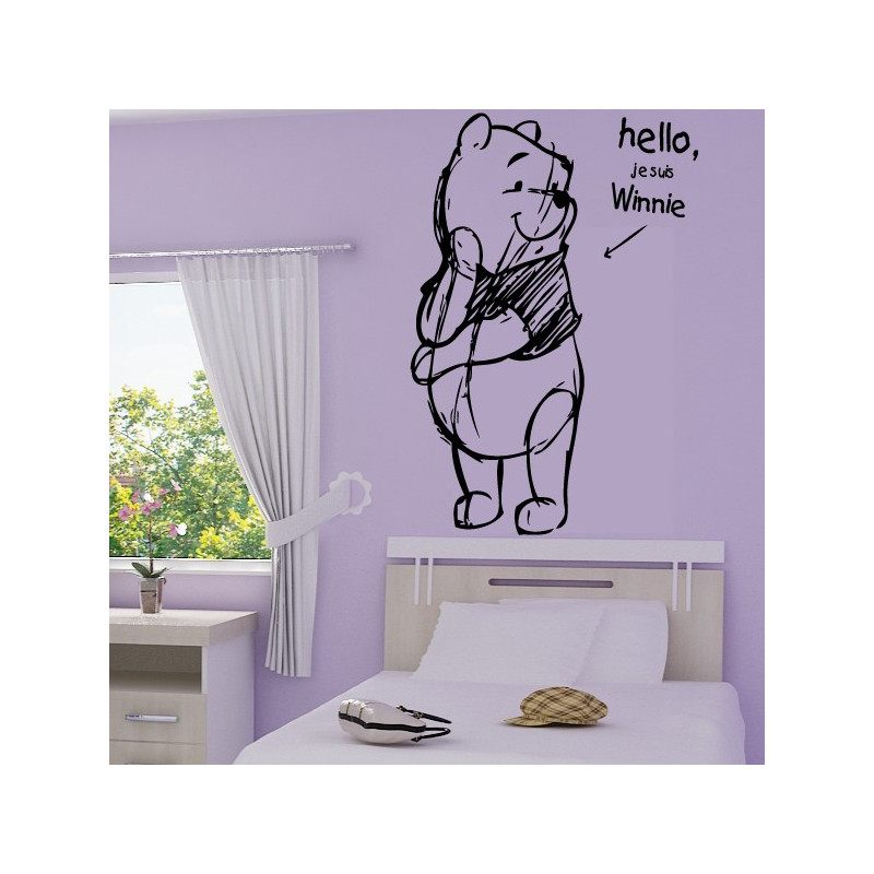 Sticker Winnie l'ourson Esquisse Crayon