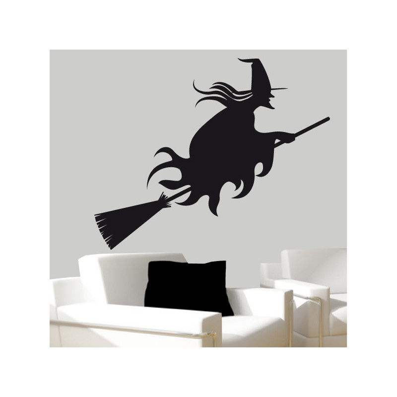 Sticker Sorcière sur son balai Halloween