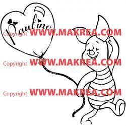 Sticker Porcinet - Ballon Coeur + prénom personnalisable