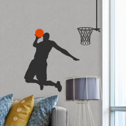 Sticker Basketball - Basketteur met un panier