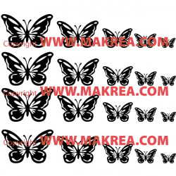 Sticker Pack / kit 20 papillons - 5 tailles
