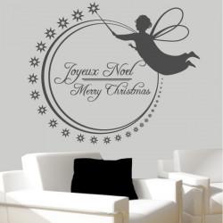 Sticker Joyeux Noël Ange et étoiles