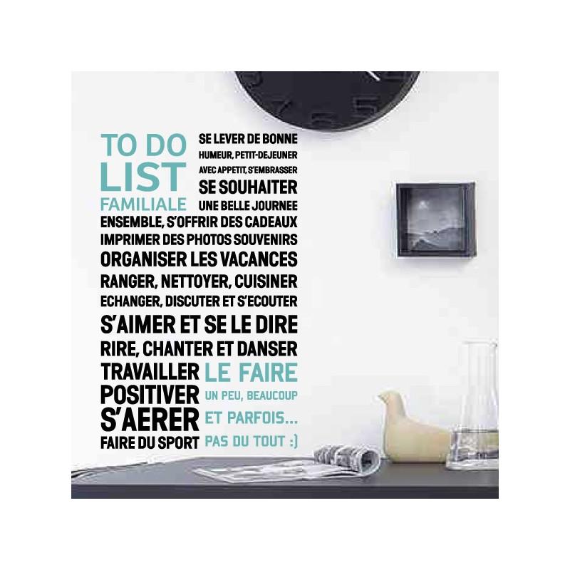 """Texte """"To Do List Familiale"""" modèle 2"""