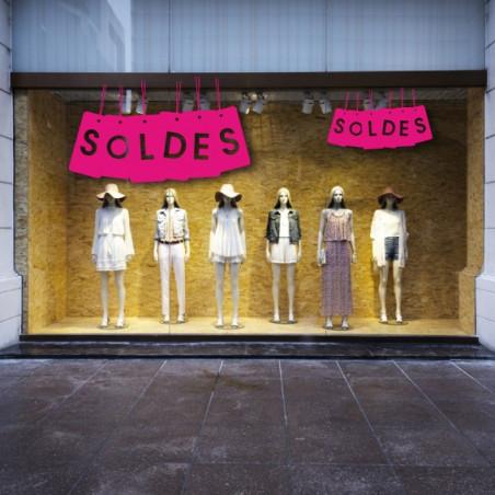 """vitrine """"SOLDES"""" lot étiquettes suspendues"""