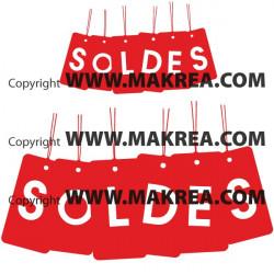 """Sticker vitrine """"SOLDES"""" lot étiquettes suspendues"""