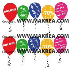 "Sticker vitrine ""pack SOLDES"" Ballon"