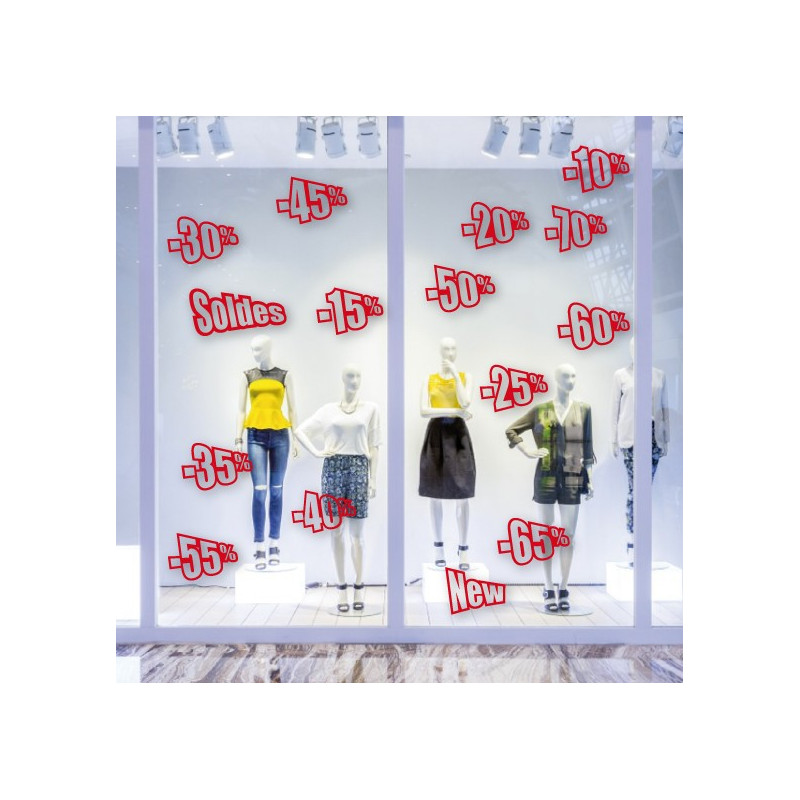 "Sticker vitrine ""pack SOLDES"" pourcentages"