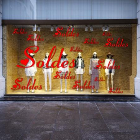 """vitrine Texte """"SOLDES"""" - Choix de l'écriture"""