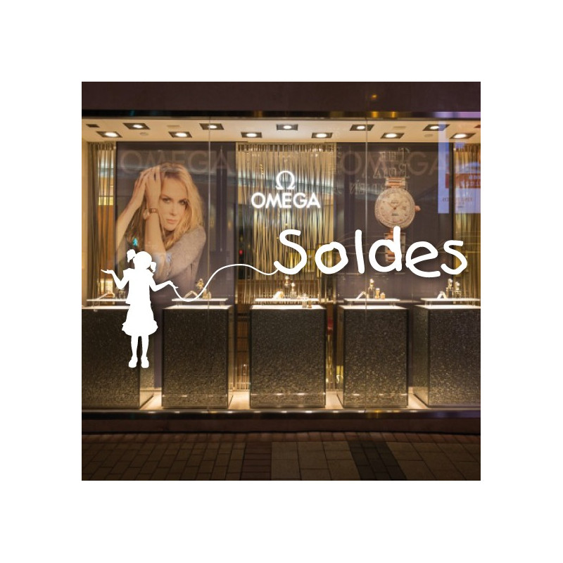 "Sticker vitrine ""SOLDES"" fillette"