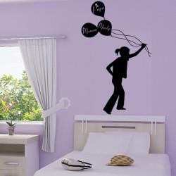 Sticker Fillette qui tient des ballons